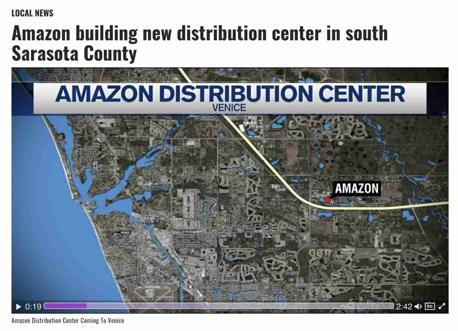 screenshot of local news reporting on Amazon's new distribution center coming to Venice Florida